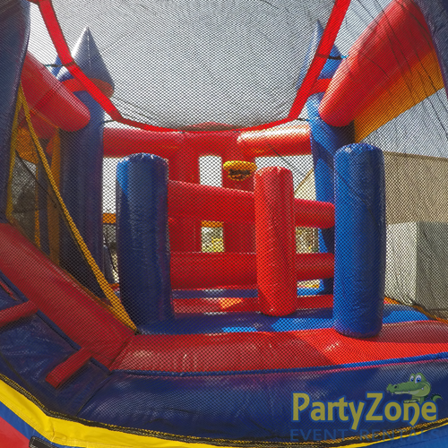 Castle 5n1 Combo Bounce House Rental Obstacles Back View