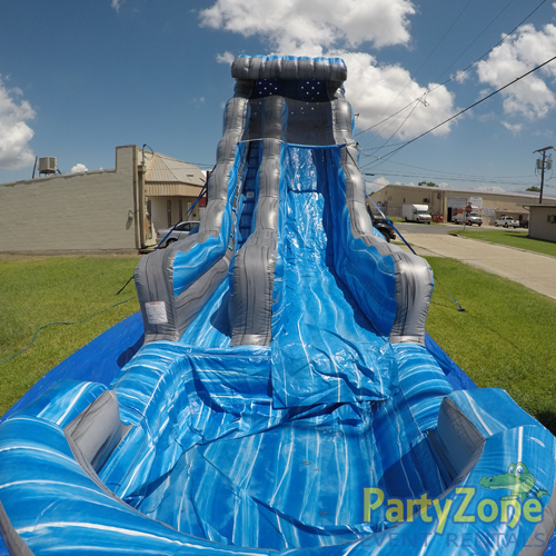 22ft Laguna Waves Water Slide Front View with Pool