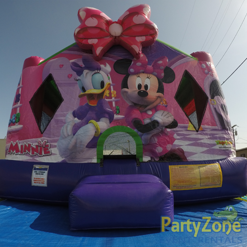 Minnies Bow-Tique Bounce House Rental Front Low View
