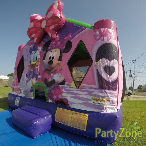 Minnies Bow-Tique Bounce House Rental Front Right View