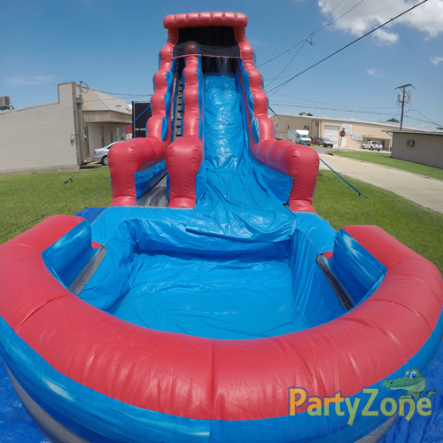 22ft Rocky Falls Water Slide Front View with Pool