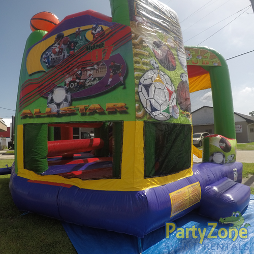 Sports 5n1 Combo Bounce House Rental Front Left View