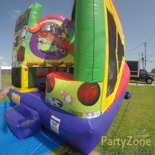 Sports 5n1 Combo Bounce House Rental Front Right View