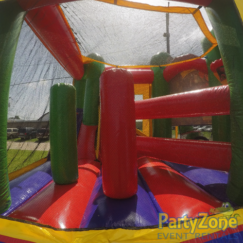 Sports 5n1 Combo Bounce House Rental Inside Obstacles Back View