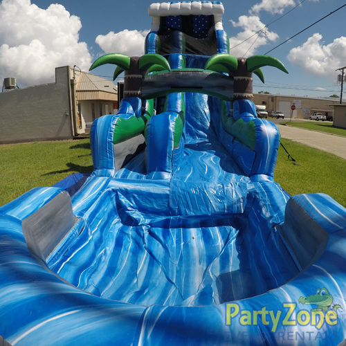 22ft Tropical Tsunami Water Slide Front View with Pool