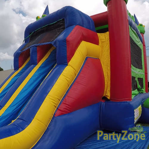 14ft Dual Lane Castle Water Slide Combo Front Left View