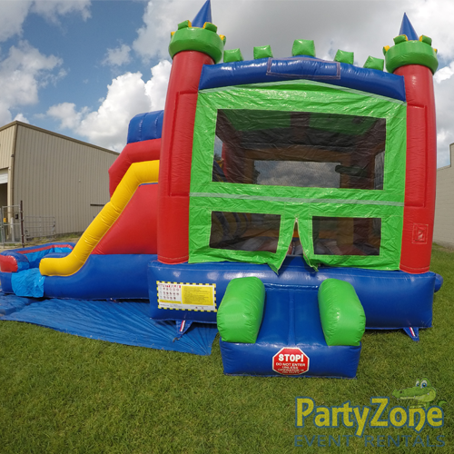 14ft Dual Lane Castle Water Slide Combo Front View