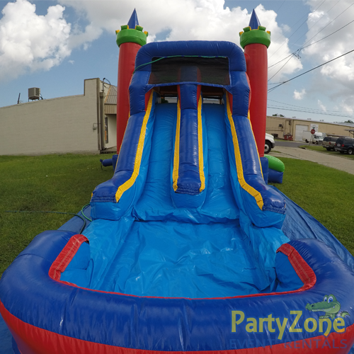 14ft Dual Lane Castle Water Slide Combo Pool Landing View