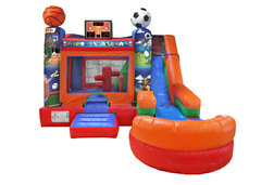 6 in 1 Sports Bounce and Water Slide Combo with Pool