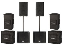 4000 watt Speaker Pair with Tripods and Subwoofers