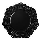 "13"" Round Black Flower Edge Charger (Plastic)"