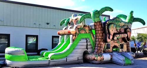 Cave bounce house with water slide rental dfw