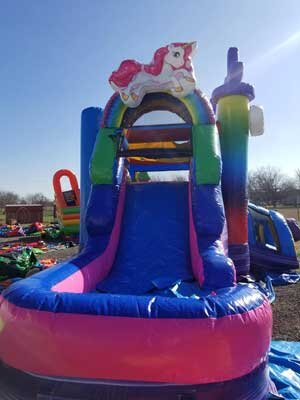 Burleson Texas Bounce House with Slide Rental Unicorn theme