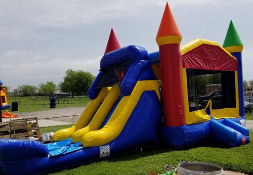 Castle 4n1 wet combo bounce house rental from Inflatable Party Magic Cleburne, Tx