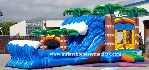 Hurricane dual laned  wet slide and bounce house combo
