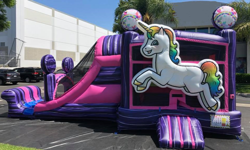 Unicorn Bounce House Combo with Slide Rental