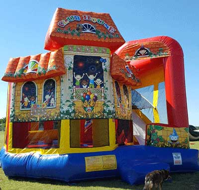 Clubhouse Bounce House Combo Waterslide from Inflatable Party Magic LLC Cleburne, Tx