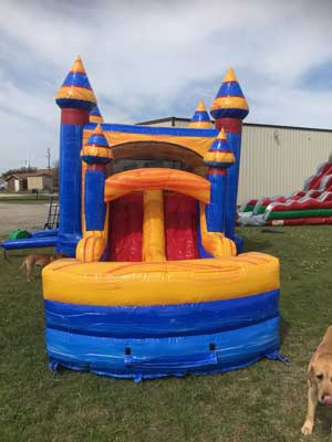 Marble Mansion 4n1 wet Bounce House Combo with Dual lane slide