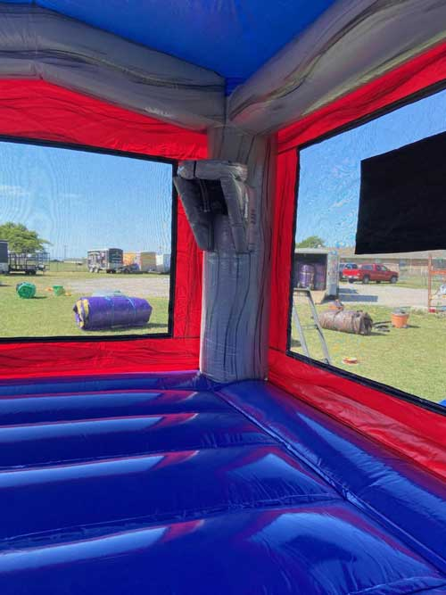 Platinum bounce house combo basketall view