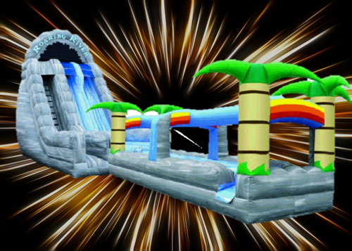 22 ft. Roaring Rapids Dual Laned Waterslide with Slip N Slide Landing - 2 piece waterslide