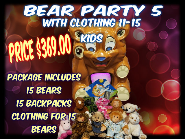 Bear Party Package 5 includes clothing- 11- 15 kids