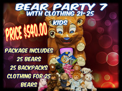 Bear Party Package 7 includes clothing- 21- 25 kids (or more)