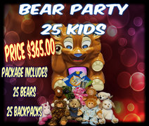 Bear Party Package Corporate- 25 kids included in price- each additional $13.00