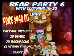 Bear Party Package 6 includes clothing- 16- 20 kids