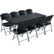 8ft. black Table & Chair Package Deal