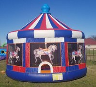 Blue and Red Carousel Bounce House
