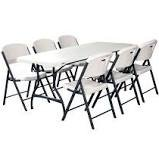 6ft. White Table & Chair Package Deal