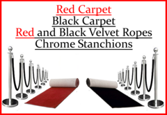 Red, Black Carpet, Chrome Stanchions, Ropes
