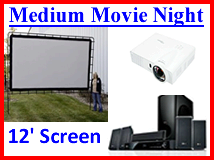 Medium size indoor outdoor movie night package rental Denver Aurora Littleton Boulder