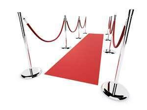 3x25 Ft Red Carpet Rental, 10 Stanchion and 8 Black Velvet Rope Package