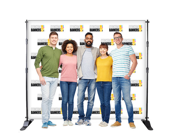 8'x8' Step and Repeat Frame And Custom Vinyl Backdrop