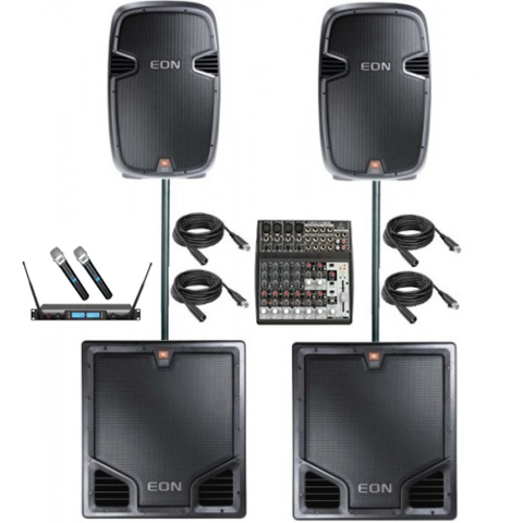 Large Pa System with 2 Subwoofers