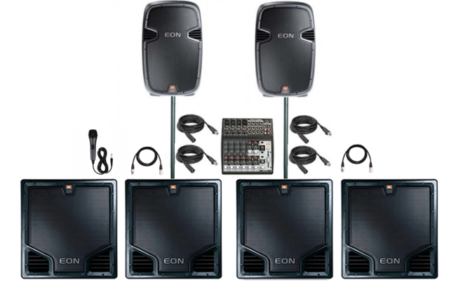 Large Pa System System Package with 4 Subwoofers