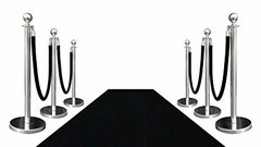 3x15 Ft Black Carpet Rental, 8 Stanchion and 6 Black Velvet Rope Package