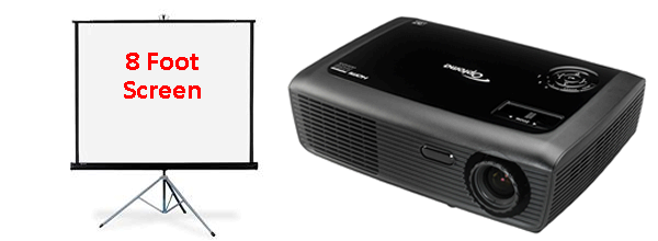 Optoma 3000 Lumens Projector and 8 Foot Screen Package