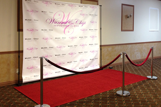 8'x8' Step and Repeat Frame And Custom Fabric Backdrop And Red Carpet Package