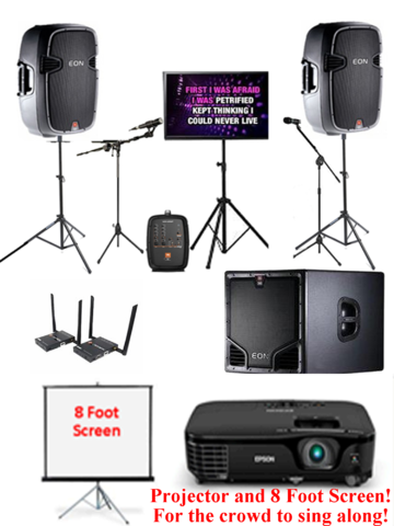 Ultimate Wireless Digital PC Karaoke Rental with DUAL Display, and Subwoofer and Wireless Mics