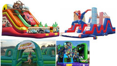 3. Good Times Package - Cars slide, Spiderman obstacle course, Nerf blaster zone, Teenage mutant ninja turtles bounce house, 2 generators