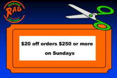 $20 off any order $250 or more on sunday