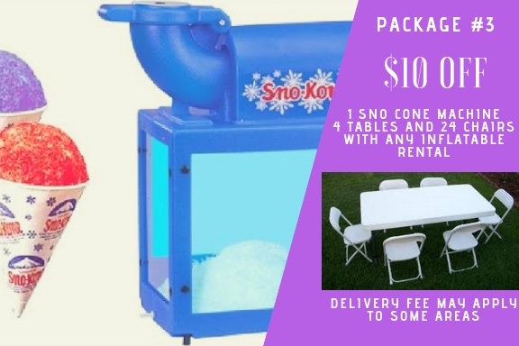 sno cone + 4 tables and 24 chairs with any inflatable