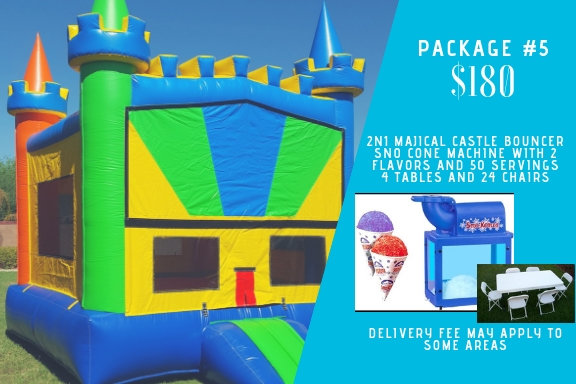 2n1 majical castle + sno cone + 4 tables 24 chairs