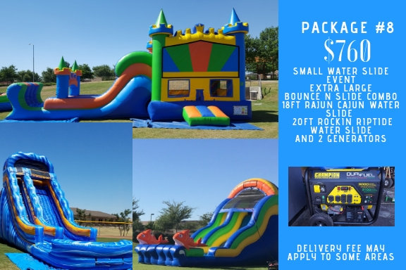 extra large castle water combo + rajun cujun waterslide +  rockin riptide waterslide + 2 generators