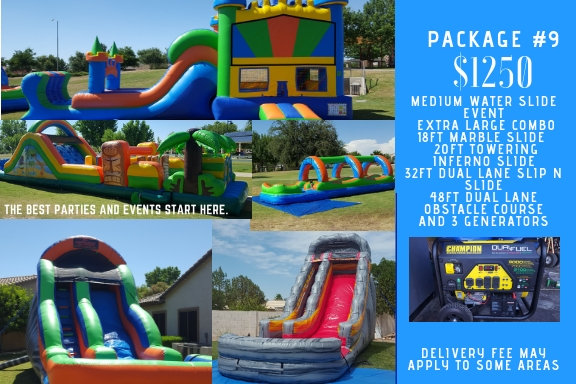 extra large castle combo + slip n slide + marble slide + towering inferno + 48ft obstacle course + 3 generators