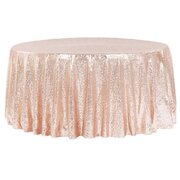 "120"" ROUND ROSE GOLD SEQUIN TABLECLOTH"