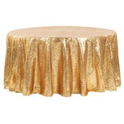 "Gold Sequin 120"" Round Tablecloth (60"" Round Table)"