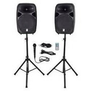 12 Inch Powered Speakers with Stands and Microphone